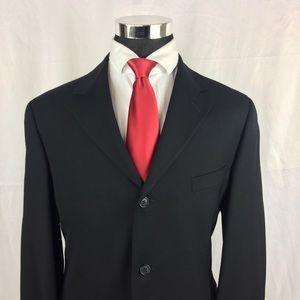 Perry Ellis Mens 48R Black Blazer Wool 3 Button